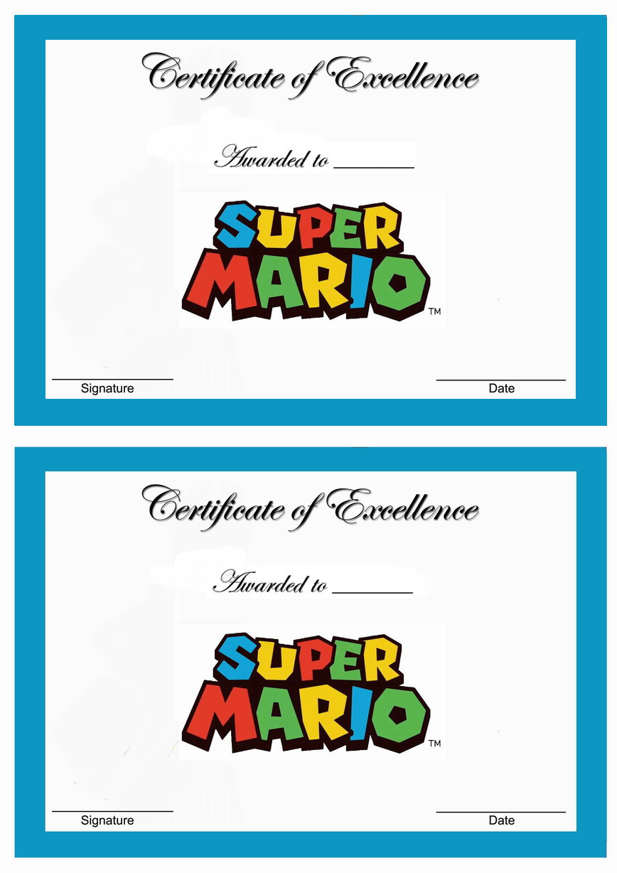 Super Mario Awards Birthday Printable