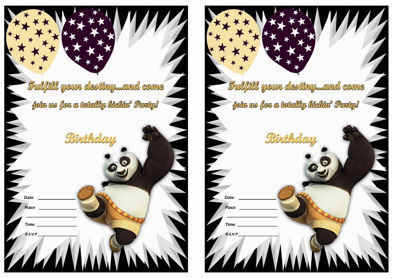 Kung Fu Panda Birthday Invitations Birthday Printable