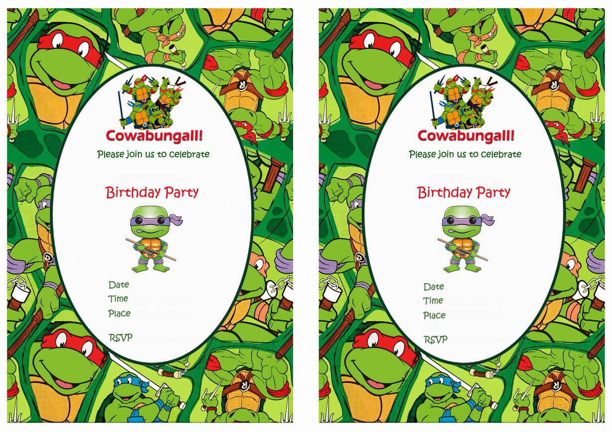 Teenage Mutant Ninja Turtles Birthday Invitations Birthday Printable
