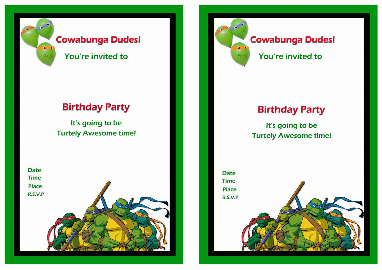 Teenage Mutant Ninja Turtles Birthday Invitations – Birthday Printable