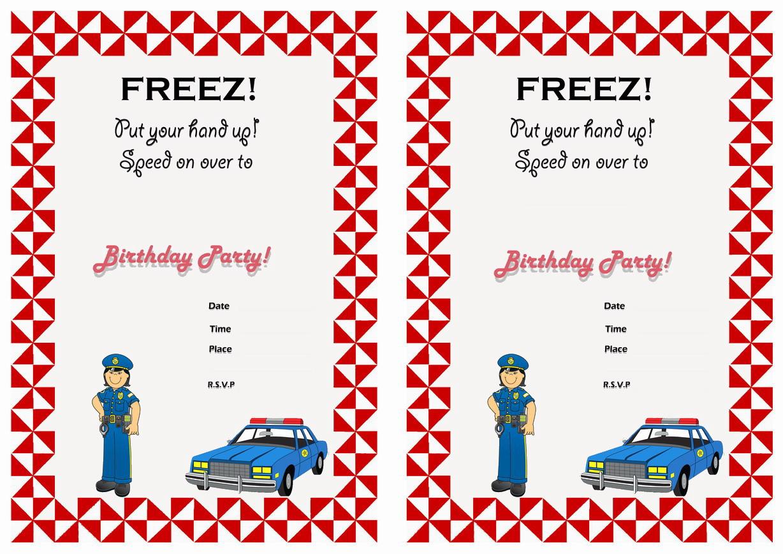 Police Birthday Invitations Birthday Printable