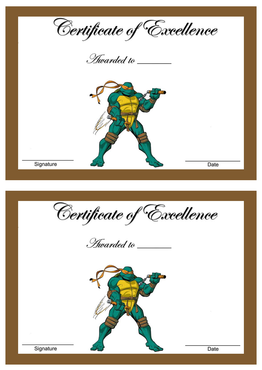 Teenage Mutant Ninja Turtles Awards Birthday Printable