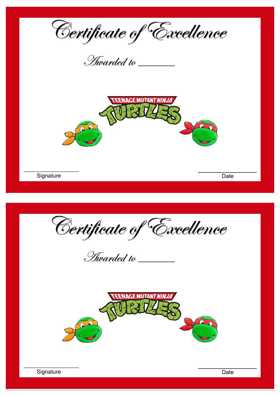 Teenage Mutant Ninja Turtles Awards Birthday Printable