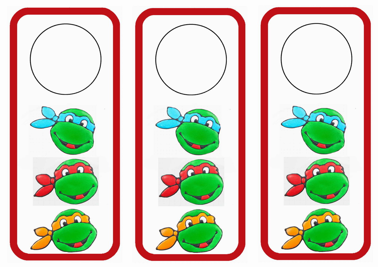 Teenage Mutant Ninja Turtles Door Hangers Birthday Printable
