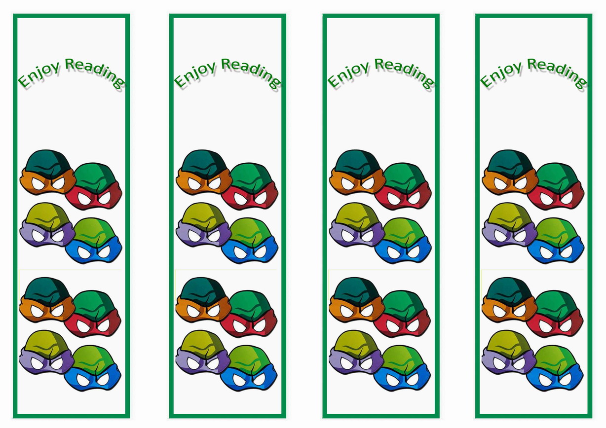 Teenage Mutant Ninja Turtles Bookmarks Birthday Printable