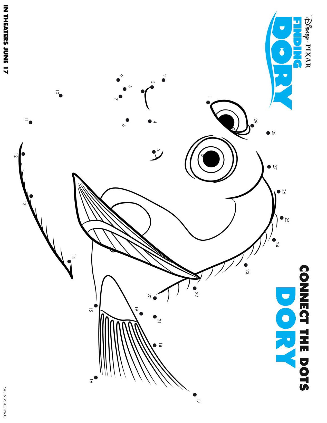Printable coloring pages dory - Finding Dory Free Printable Coloring Pages