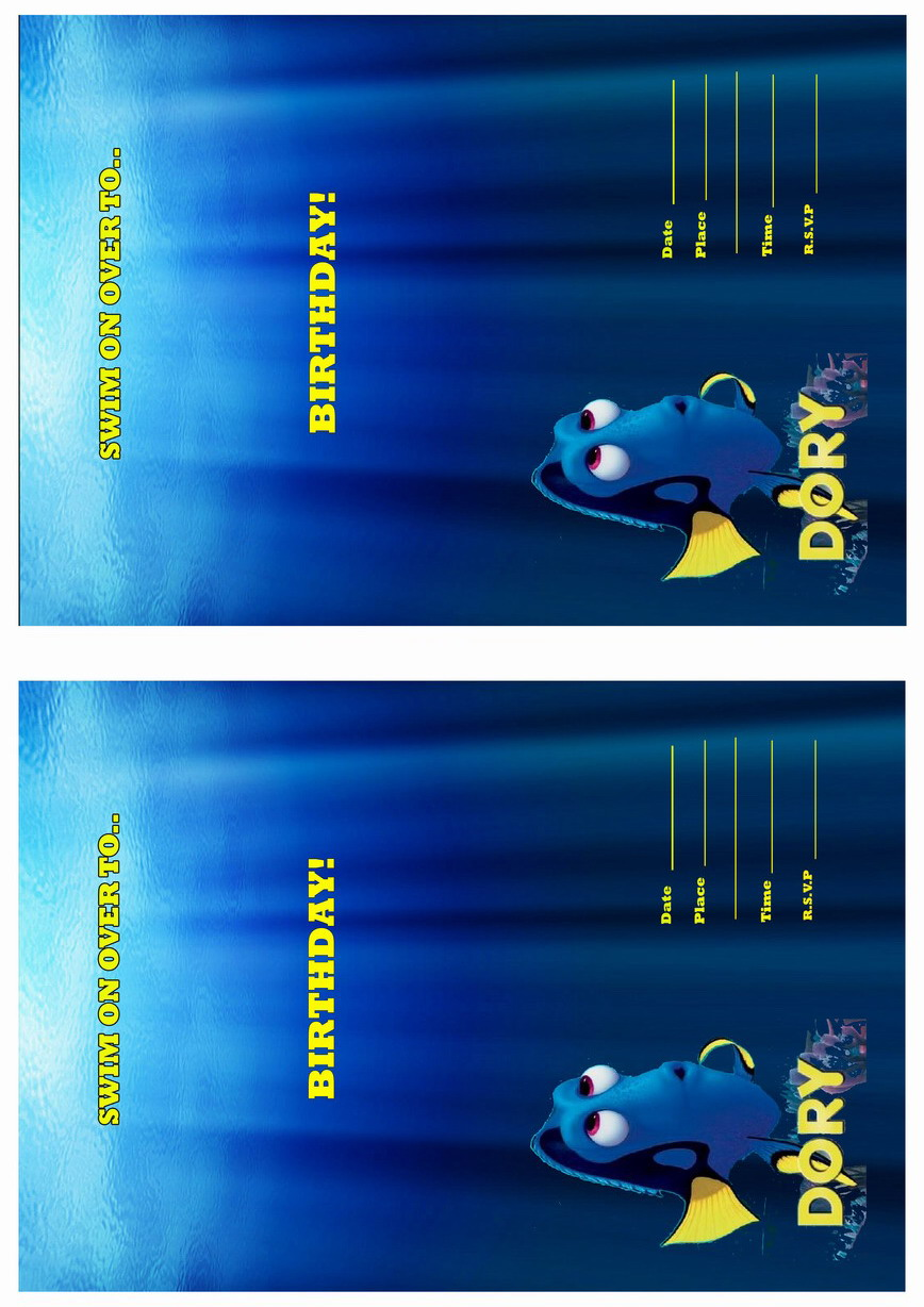 Finding Dory Birthday Invitations Birthday Printable