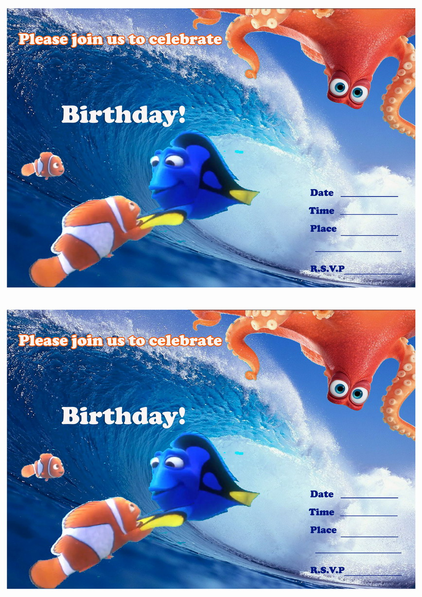 Finding Dory Birthday Invitations