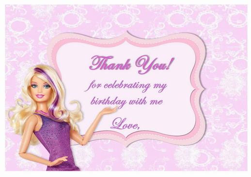 Barbie Thank You Cards Birthday Printable