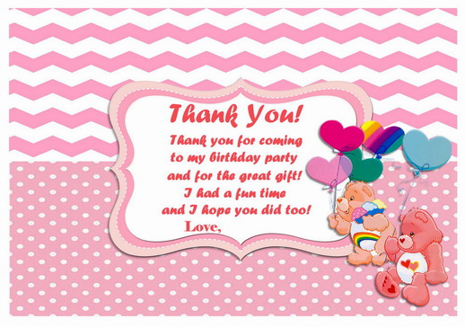 Care Bears Thank you Cards Birthday Printable – Care Bear Birthday Invitations