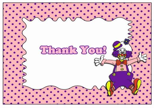 Circus Thank You Cards Birthday Printable