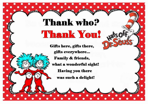 Dr Seuss Thank you Cards – Birthday Printable