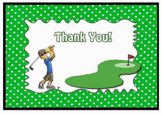 Golf Thank You Cards Birthday Printable