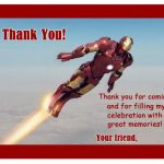 Iron Man Thank you Cards