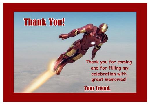 Iron Man Thank You Cards Birthday Printable