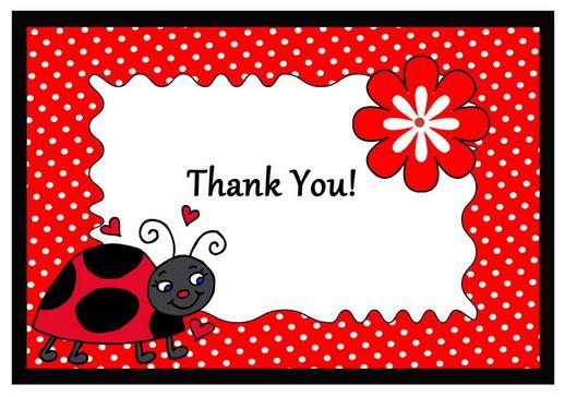 Ladybug Thank you Cards Birthday