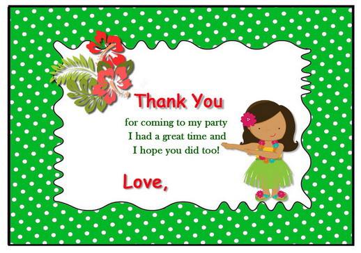 Luau Thank You Cards Birthday Printable