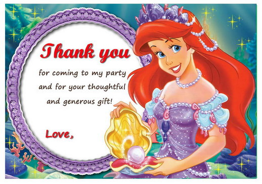 The Little Mermaid Thank You Card Ariel Digital Thank You Card Ariel Printable. The Little Mermaid Thank You Note