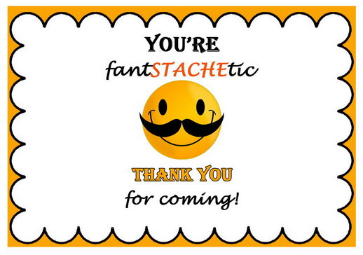 Mustache Thank You Cards Birthday Printable