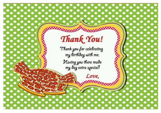 Pizza Thank You Cards Birthday Printable