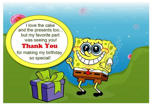 Sponge Bob Thank You Cards