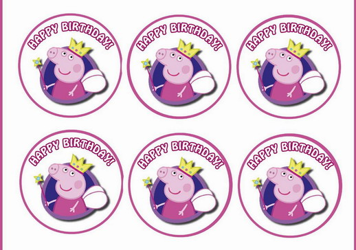 Awesome Peppa Pig Cupcake Toppers Birthday Printable Funny Birthday Cards Online Overcheapnameinfo