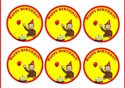 graphic relating to Curious George Printable titled Curious George Cupcake Toppers Birthday Printable