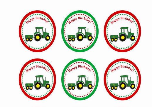 image about Free Printable Cupcake Wrappers and Toppers With Spiderman named John Deer Tractor Cupcake Toppers Birthday Printable