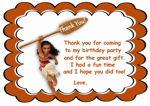 Moana thank you cards birthday printable moana thank you cards m4hsunfo